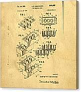 Original Us Patent For Lego Canvas Print