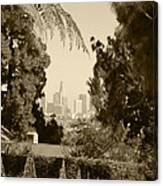 Original Vintage Urban Landscape Deco Reproduction Downtown Los Angeles Trees Retro Unique Fine Art Canvas Print