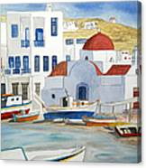 Watercolor - Mykonos Greece Detail Canvas Print
