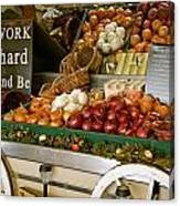 Work Hard And Be - Country Onion Cart Canvas Print