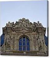 Ornate Architectural Artwork On The Musee Du Louvre Buildings In Paris France  Canvas Print