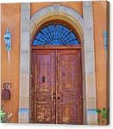 Ornate Door On Adobe House Canvas Print
