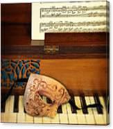 Ornate Mask On Piano Keys Canvas Print
