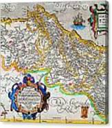 Ortelius Map Of Portugal Porvgalliae Geographicus Portugalliae Ortelius 1587 Canvas Print