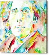 Oscar Wilde Watercolor Portrait.1 Canvas Print