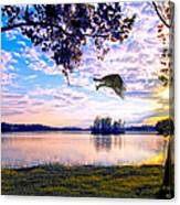 Osprey Leaving Perch Sundown Lake Canvas Print