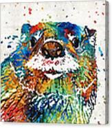 Otter Art - Ottertude - By Sharon Cummings Canvas Print