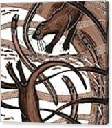 Otter With Eel, 2013 Woodcut Canvas Print