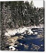 Ouareau River And Snow Covered Canvas Print