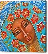 Our Lady Of The Roses Canvas Print