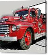 Out Of The Photo Fire Truck Canvas Print
