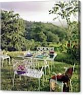 Outdoor Furniture By Lloyd On Grassy Hillside Canvas Print