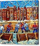 Outdoor Hockey Rink Winter Landscape Canadian Art Montreal Scenes Carole Spandau Canvas Print