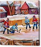 Outdoor Rink Hockey Game In The Village Hockey Art Canadian Landscape Scenes Carole Spandau Canvas Print
