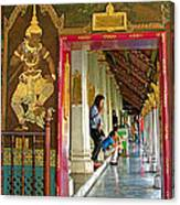 Outer Hall In Thai-khmer Pagoda At Grand Palace Of Thailand Canvas Print