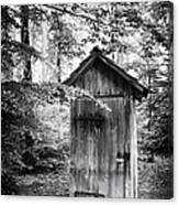Outhouse In The Forest Black And White Canvas Print