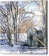 Outhouse In Winter Canvas Print