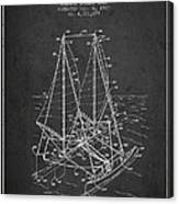 Outrigger Sailboat Patent From 1977 - Dark Canvas Print