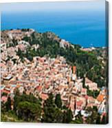 Over Taormina City Canvas Print