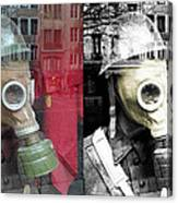 Overprinted Gas Mask Canvas Print