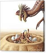 Oviraptor And Nest Canvas Print