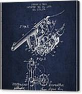 Owen Revolver Patent Drawing From 1899- Navy Blue Canvas Print