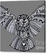 Owl In Flight Grey Canvas Print