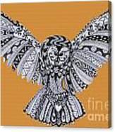Owl In Flight Orange Canvas Print