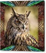Owl With Collage Border Canvas Print