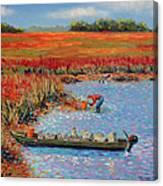 Oystermen At Folly Beach Canvas Print