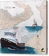 Pacific Dream Crab Fishing Boat Nautical Chart Art Canvas Print