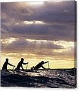 Paddlers Silhouetted Canvas Print