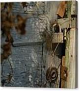 padlocked old wood door abandoned Streetman Texas Canvas Print