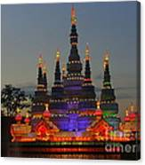 Pagoda Lantern Made With Porcelain Dinnerware At Sunset Canvas Print