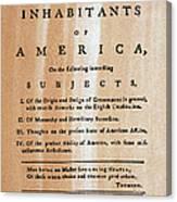 Paine: Common Sense, 1776 Canvas Print
