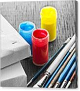 Paintbrushes With Canvas Canvas Print
