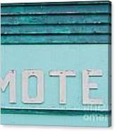 Painted Blue-green Historic Motel Facade Siding Canvas Print