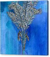 Painted Blue Palm Canvas Print