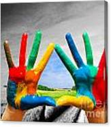 Painted Colorful Hands Showing Way To Colorful Happy Life Canvas Print