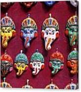 Painted Elephant Souvenirs In Kathmandu Canvas Print