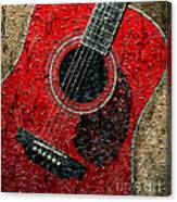 Painted Guitar - Music - Red Canvas Print