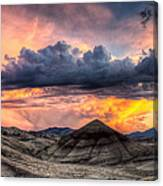 Painted Hills In Oregon Panorama At Sunset Canvas Print