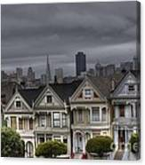 Painted Ladies Ready For The Rain Canvas Print