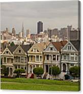 Painted Ladies Row Houses And San Francisco Skyline Canvas Print