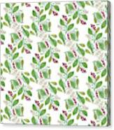 Painted Nature Coorsinating Foliage Leaves Pattern Canvas Print