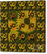 Painted Sunflower Abstract Canvas Print