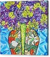 Painted Vase With Hydrangeas Canvas Print