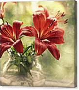 Painting Daylilies On My Window Canvas Print