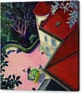 Painting Of A House With A Patio Canvas Print