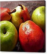 Painting Of Apples And Pears Canvas Print
